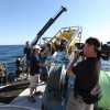 Wayne Abbott filming deployment of ROV from Research Vessel David Boyd, Whitefish Point, Lake Superior <li><em>Crispin Sadler</em></li>