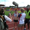 Libby Clegg and guide runner Lincoln Asquith being interviewed <li><em>Crispin Sadler</em></li>